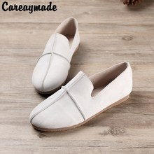Careaymade-2017 new spring white flat shoes pure handmade Top layer genuine leather shoes comfortable soft bottom leisure shoes