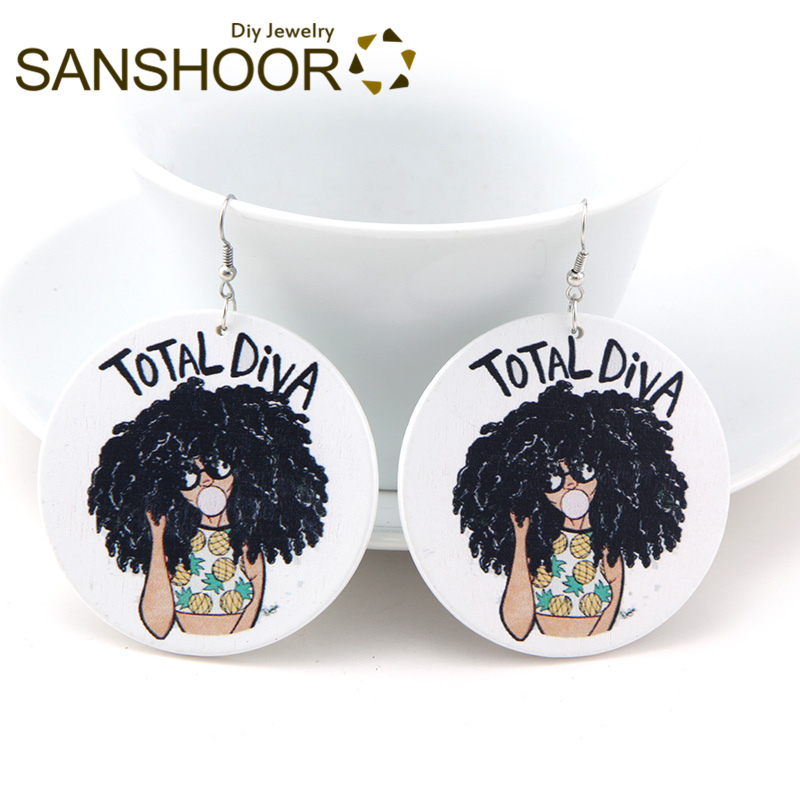 Sanshoor Engraved Afrocentric Ethnic Wood Drop Earrings Black Educated Queen Natural Hair For Indians Americans Women Gift 1pair Earrings
