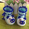 Recién nacido cerdo de la historieta primeros caminantes zapatos de bebé bebés de punto de ganchillo de lana botas niño niño nieve de lana zapatos del pesebre botines de invierno