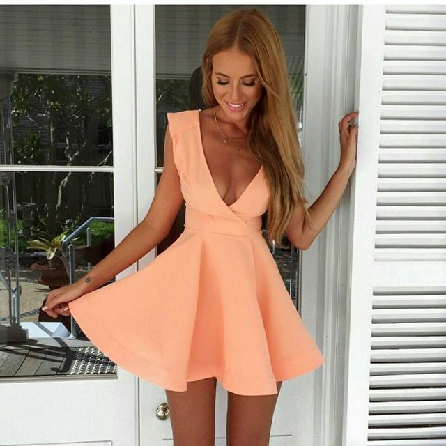Mode 2015 été sexy v profond col tunique mini robe courte femmes rose dames du parti club wear bandage robes de bal vêtements YT070