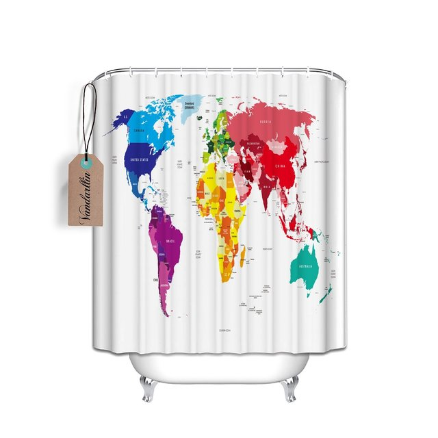 Colorful world map design home decor polyester fabric shower curtain colorful world map design home decor polyester fabric shower curtain 72x84 inch longwith countries gumiabroncs Gallery