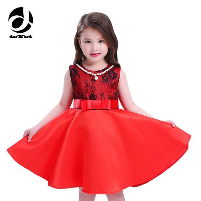 New Designer Childrens Dresses  2017 Fashion Noble Pretty Girl Dresses Sleeveless Infant Party Dress Princess Deguisement