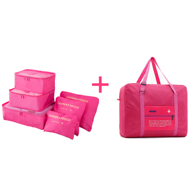 2018 Travel Bags Set Women Luggage Travel Bag Large Capacity Packing Cubes Organizer Nylon Folding Unisex Bags Luggage Handbags Travel Bags & Luggage
