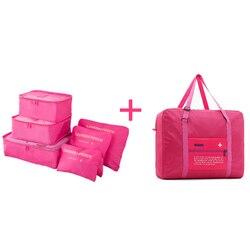fa087fd1f Sacos de viagem Definido Mulheres Bagagem Bolsa De Viagem Grande Capacidade  de Cubos de Embalagem Organizador