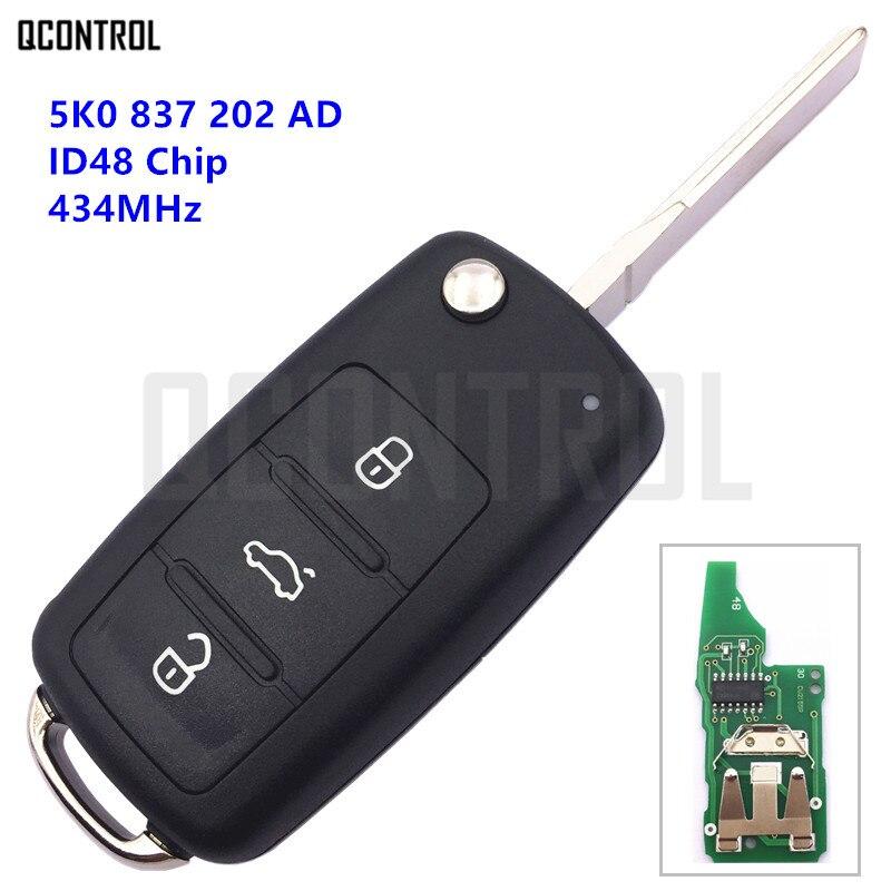 QCONTROL Auto Funkschlüssel für VW/VOLKSWAGEN 5K0837202AD Käfer/Caddy/Eos/Golf/Jetta/Polo/Scirocco/Tiguan/Touran/UP 5K0 837 202 AD