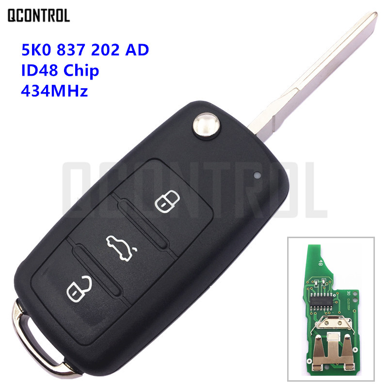 QCONTROL Voiture À Distance Clé pour VW/VOLKSWAGEN 5K0837202AD Beetle/Caddy/Eos/Golf/Jetta/Polo/Scirocco/Tiguan/Touran/UP 5K0 837 202 AD