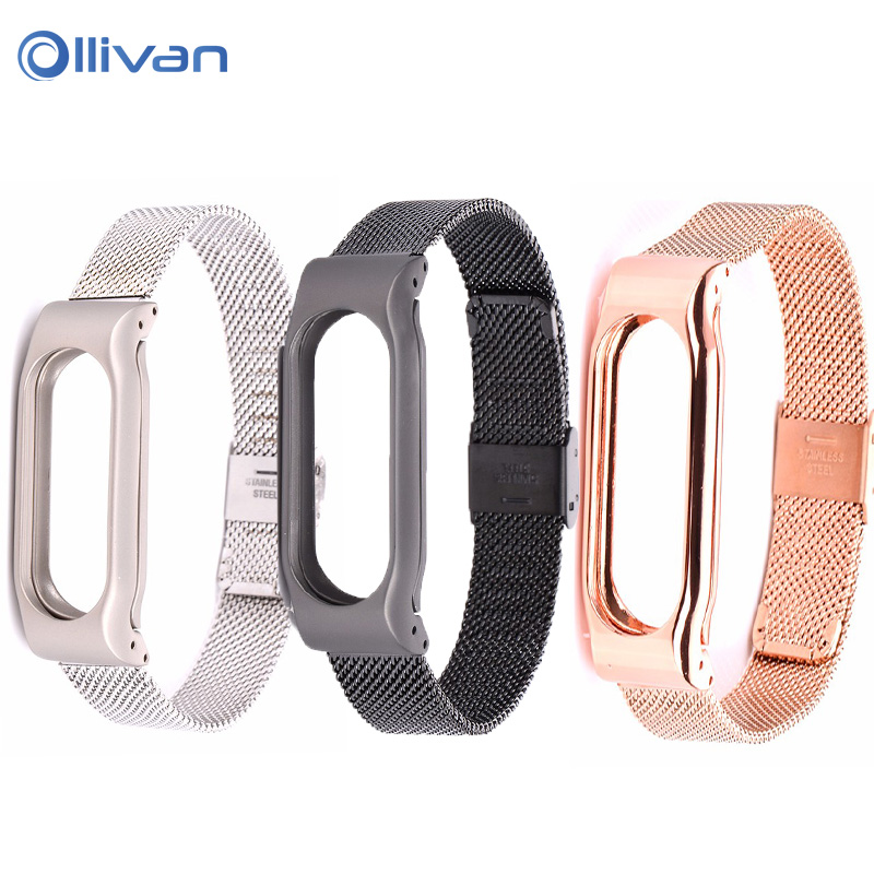 Metal Strap For Xiaomi Mi Band 3 Stainless Steel band For MiBand 2/ Miband3 Wristband Replace Accessories For Xiaomi Mi Band 3/2
