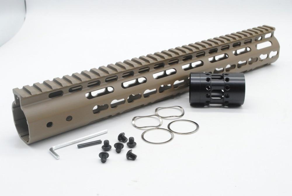 TRIROCK Pink NSR 12 Inches Free Float KeyMod AR15 AR-15 Handguard with Rail Mounted Steel Barrel Nut fit .223 5.56 Rifles