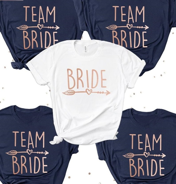 0065f1ee PADDY DESIGN Bachelorette Party Team Bride T-shirt Brides Squad Bridesmaid  Women Top Tee Casual