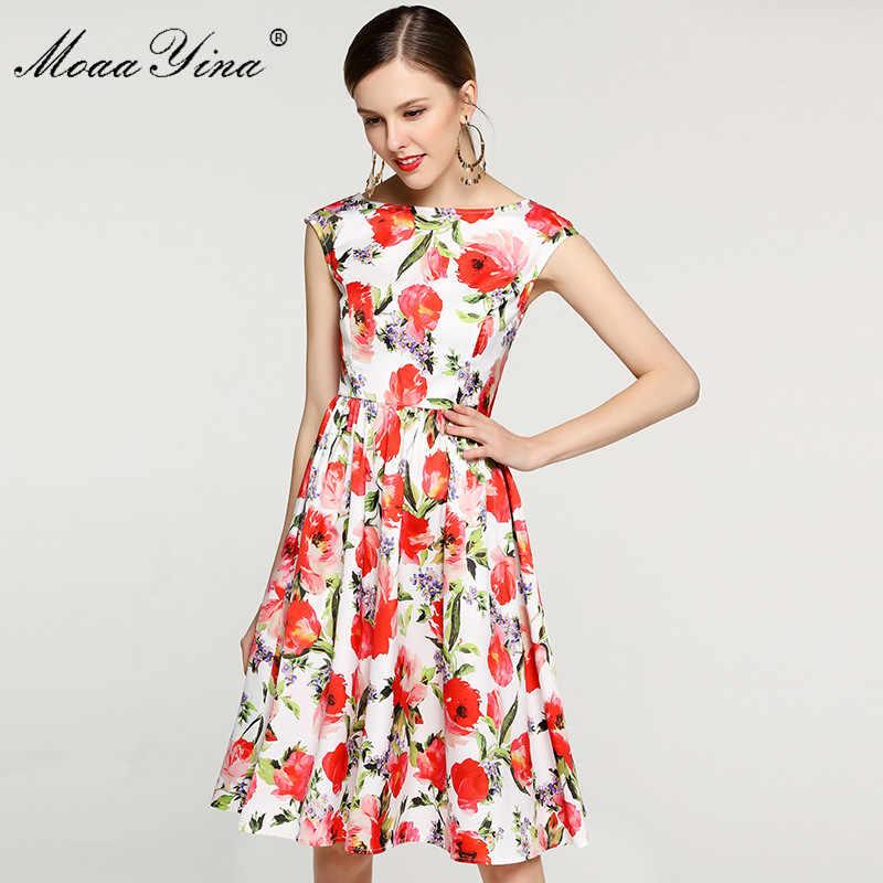 MoaaYina, модное дизайнерское платье для подиума, летнее женское платье, сексуальное, с открытой спиной, с цветочным принтом, для отдыха, тонкие элегантные платья