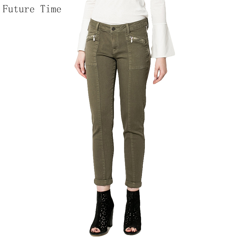 ФОТО Army Green Working trousers Women Jeans Casual Slim Elastic Straight Pant Ladies Fashion Nine Length Casual Jeans For Female
