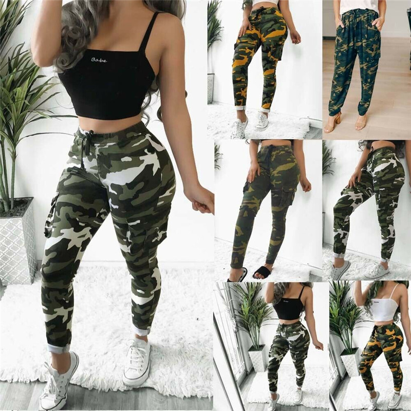2019 Women's Elastic High Waist Harem Pants Camo Cargo Trousers Casual Pants Military Army Combat Camouflage Sports