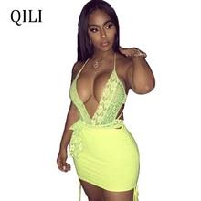 QILI Sexy Halter Lace Dress Sets Deep V Neck Backless Bandage Mini Short Dresses Nightclub Club Wear Beach Two Piece