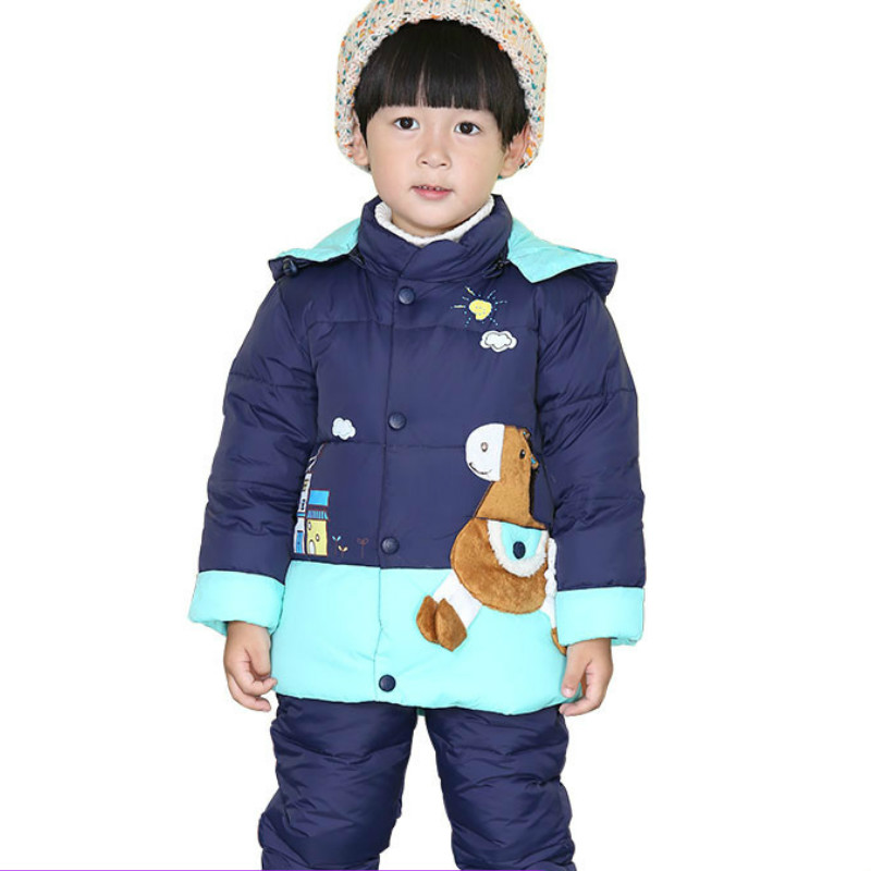 Children's down jacket new style thickening boys and girls, 1-3 year old baby cartoon printing two sets, winter thickening new 2017 winter baby thickening collar warm jacket children s down jacket boys and girls short thick jacket for cold 30 degree