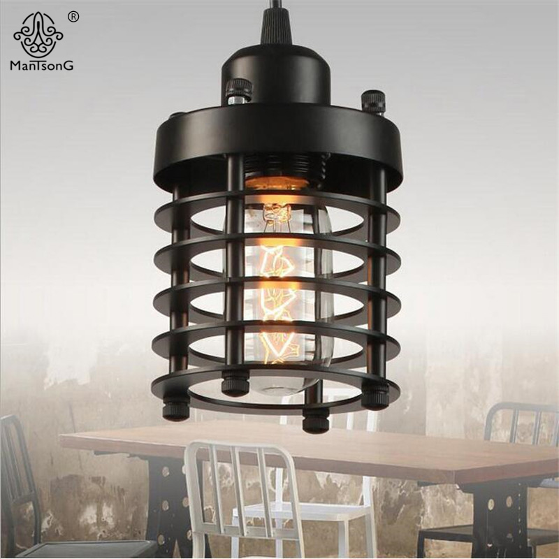 Iron Vintage Pendant Lamp Creative Hanging Lighting Fixture E27 1 Head Cafe Industrial Corridor Restaurant Home Pendant Light new loft vintage iron pendant light industrial lighting glass guard design bar cafe restaurant cage pendant lamp hanging lights
