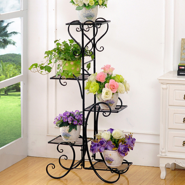 4 Tier Plant Stand Indoor Outdoor Corner Shelf Flower Pot Holder Planters Display Rack