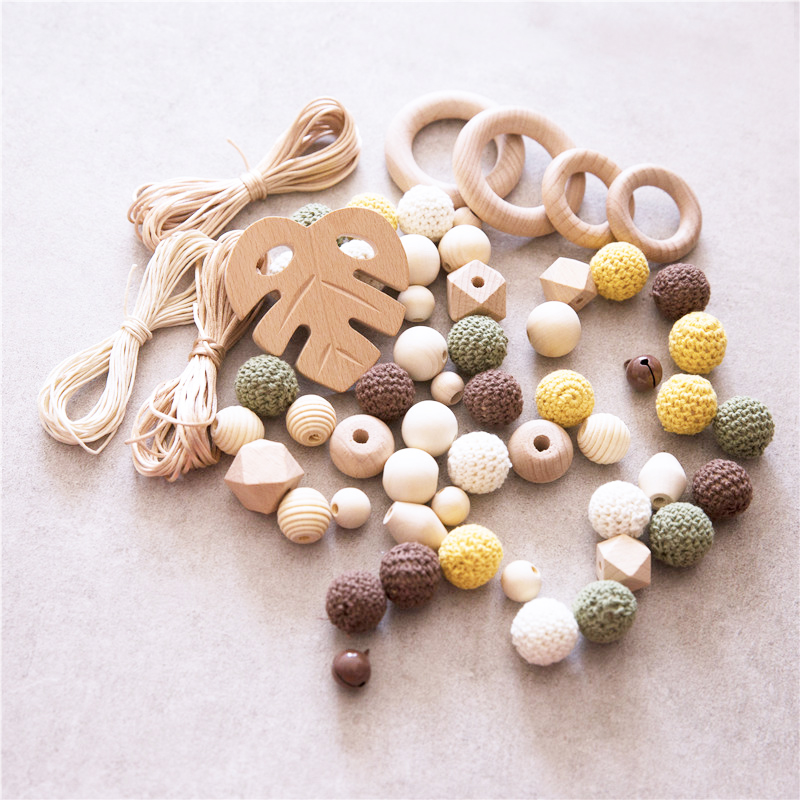 1 Box Silicone Teether Beech Leaf Wood Beads For Baby Rattle Accessories DIY Jewelry Set Crochet Beads Handmade Baby Toys Kit