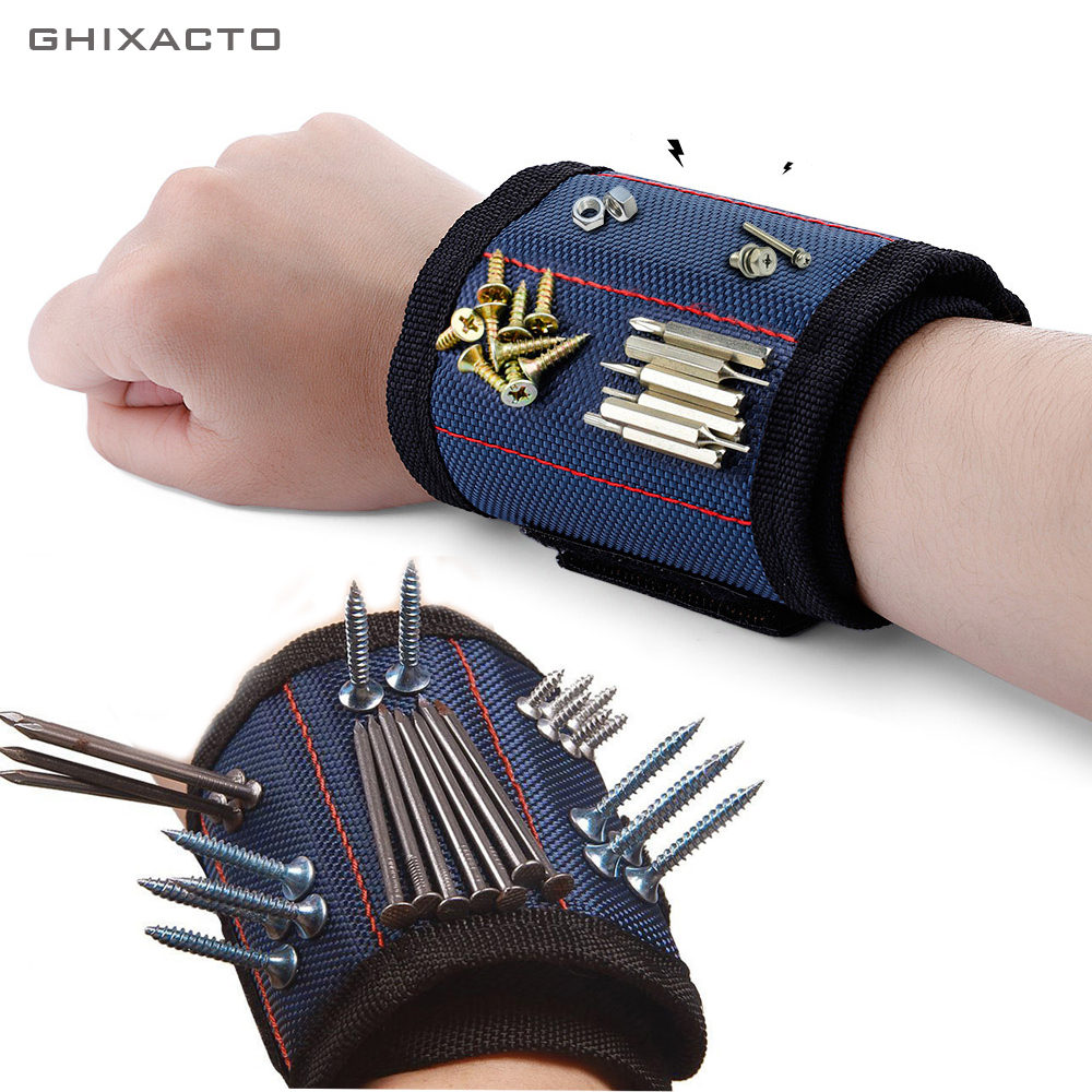 GHIXACTO Polyester Magnetic Wristband Portable Tool Bag Electrician Wrist Tool Belt Screws Nails Drill Bits Holder Repair Tools