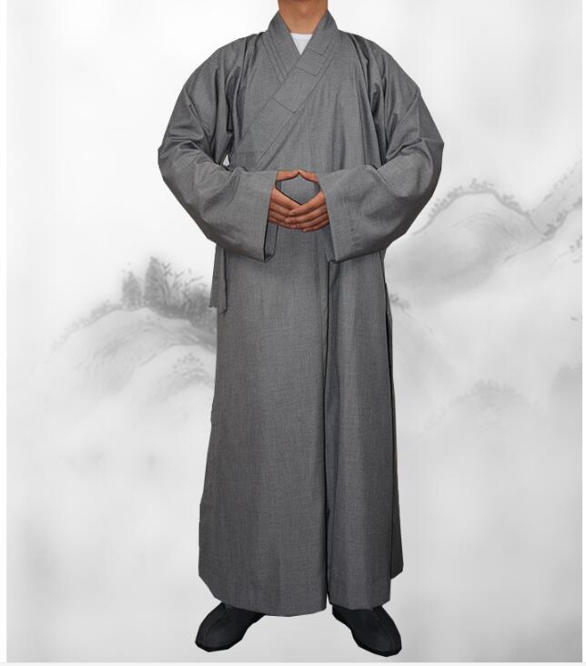 100% Katoen Monnik Kleding Lange Mouwen Chinese Monnik Gewaad Boeddhistische Levert Plus Size