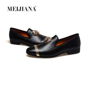Image 1 - Meijiana mocassins masculinos de couro, mocassins casuais para homens, sapatos da marca luxuosos para dirigir