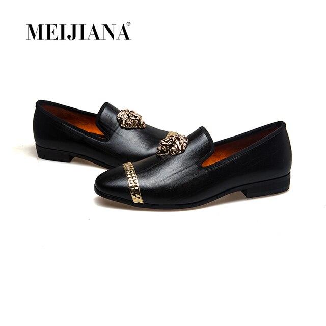 Meijiana mocassins masculinos de couro, mocassins casuais para homens, sapatos da marca luxuosos para dirigir