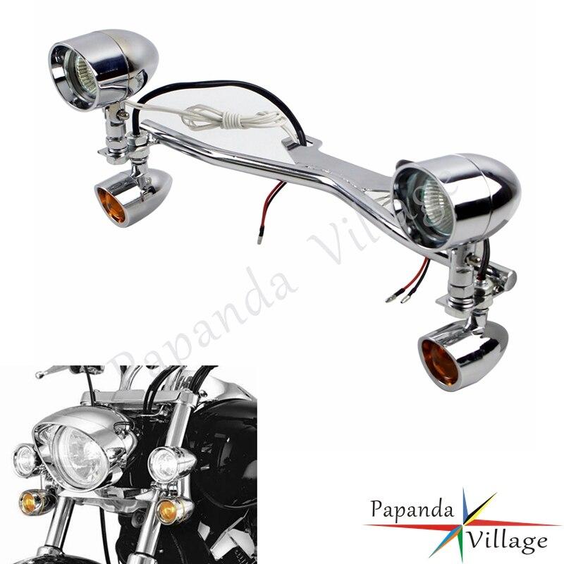 Motorcycle Auxiliary Spot Fog Light W/ LED Turn Signals For Harley Softail Dyna Honda Shadow VT 750 1100 VTX 1300 1800 Boulevard