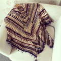 110cm Cotton Blended Square Women Multicolor Ethnic Print Tasseled Scarf Shawl Bohemian Fringed Printed Scarves