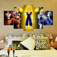 5 Pieces Dragon Ball Animated Cartoon Characters Modern Home Wall Decor Canvas Picture Art HD Print