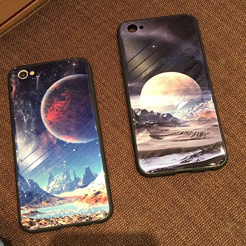 beautiful Tempered Glass Case universe Starry sky planet Earth moon Phone Case For iPhone X 7 8 6 6s Plus Cases Back Cover 7Plus