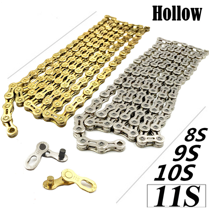 Light weight 8/9/10/11 speed road mtb mountain bike bicycle chains 8s 9el 10SL 11EL X10SL X10EL 116Links Chain Gold 10 Speed 11el lux