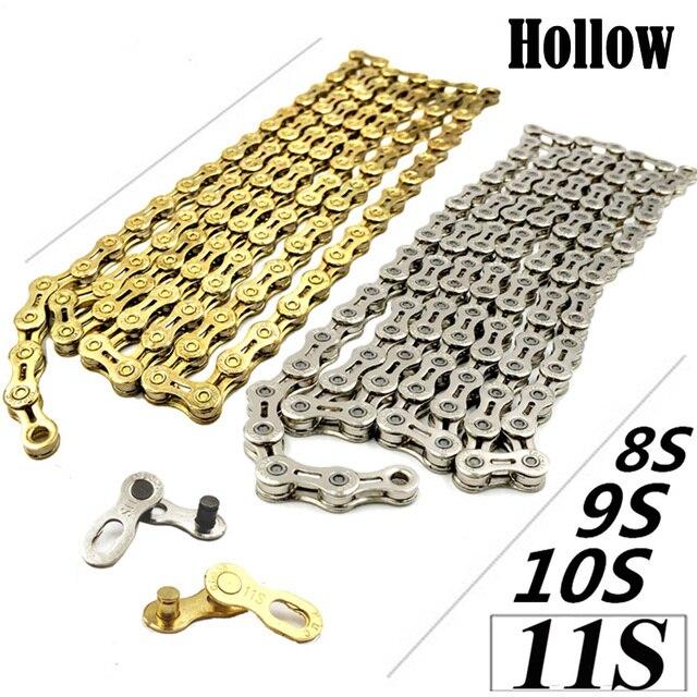 Peso ligero 8/9/10/11 cadenas de bicicleta de montaña de carretera mtb 8 s 9el 10SL 11EL X10SL X10EL 116 enlaces de la cadena de oro de 10 velocidades