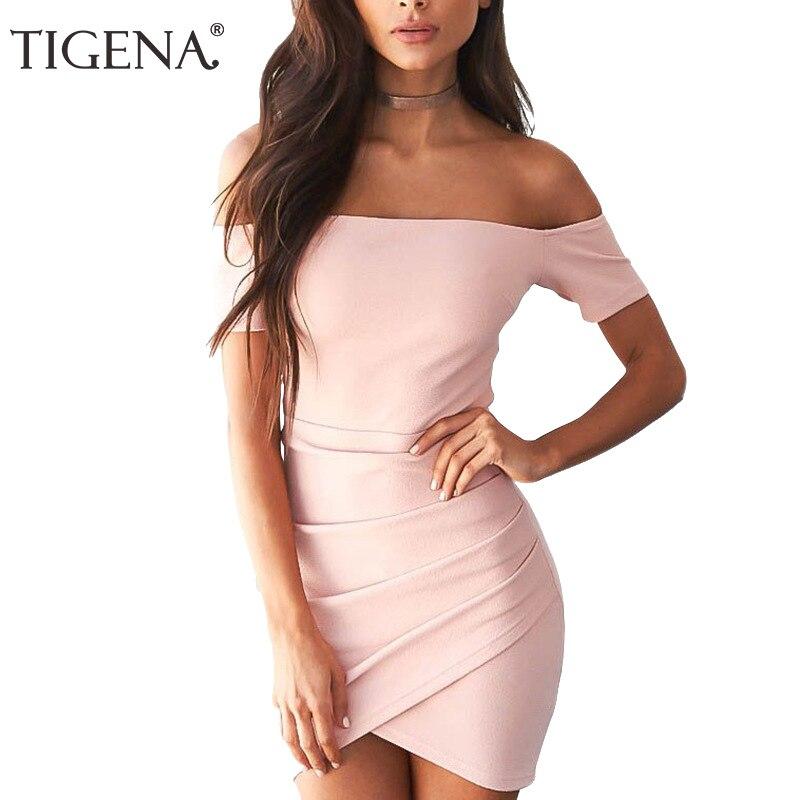 TIGENA mujeres verano vestido 2018 verano Sundress Rosa negro de ...