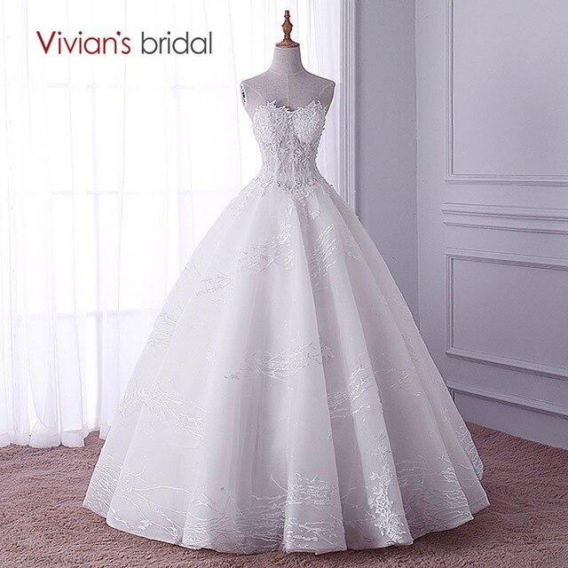 9e2b0b5bc1b0e Strapless Ball Gown Wedding Dress Vivian's Bridal Lace Sequin Wedding Gown  with Beads vestido de novia