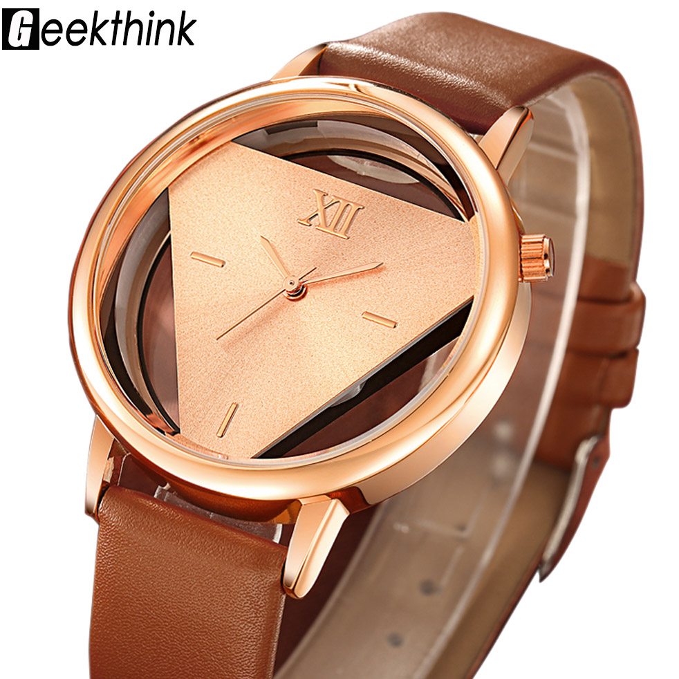 GEEKTHINK Fashion Hollow Women Watches Ladies Casual Leather Quartz Dress Watch Female Clock Relojes mujer Relogio Feminino skmei quartz watch women relojes mujer fashion ladies dress watches casual leather wristwatches gift clock relogio feminino 9158
