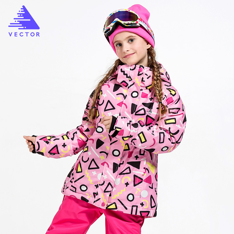 VECTOR Warm Winter Ski Jacket Girls Windproof Waterproof Children Skiing Snowboard Jackets Outdoor Child Snow Coats Kids