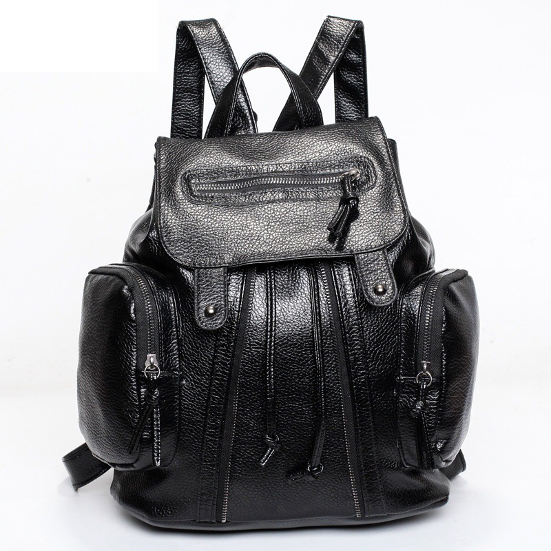 Fashion Women Backpack PU Leather Black Shoulder School Bags For Teenagers Girls Female Casual Travel Bags