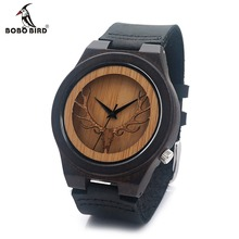 BOBO BIRD Deer Head Skeleton Design Ebony Wooden Quartz Watch Mens Womens Timepiece with Genuine Leather Band in Gift box