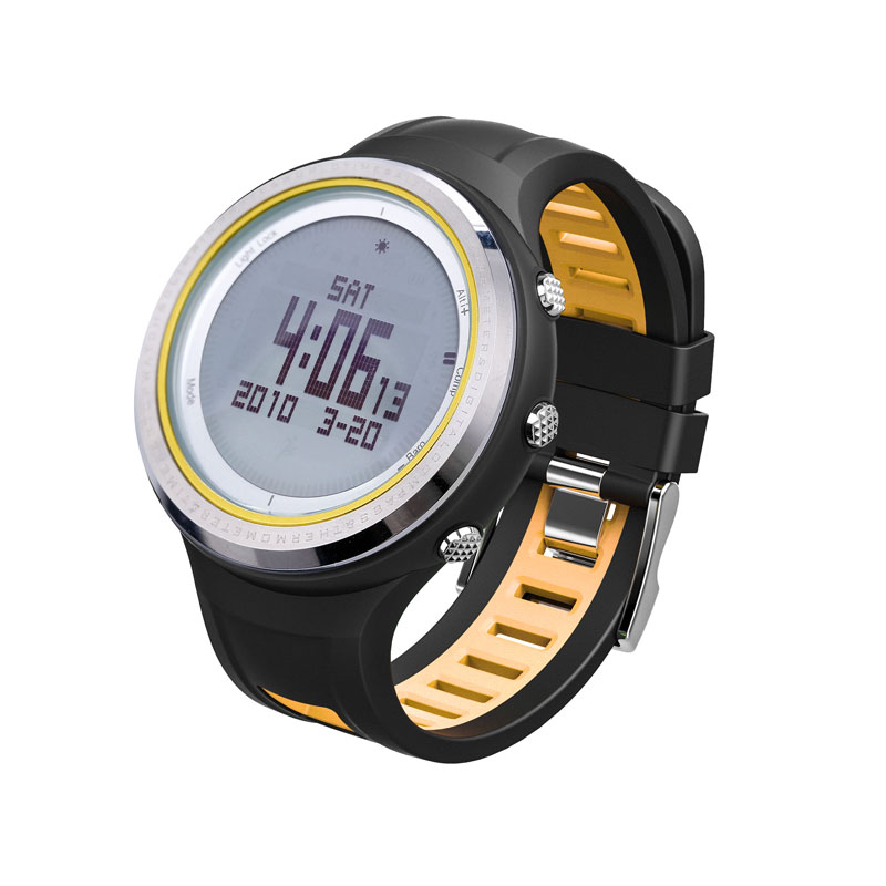 SUNROAD FR800NA Outdoor Sports Men Watch-Stopwatch Digital Altimeter Barometer Compass Pedometer Watches Clock Men (Yellow) sunroad 2018 new arrival outdoor men sports watch fr851 altimeter barometer compass pedometer sport men watch with nylon strap