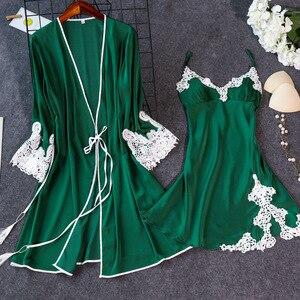 Image 2 - Năm 2019 Trong Nhà Quần Áo Nữ Đồ Ngủ Gợi Cảm Femme Áo Dây Áo Bộ Ngủ Phòng Chờ Nữ Váy Ngủ Áo Choàng Tắm Váy Ngủ Kèm Đệm Ngực