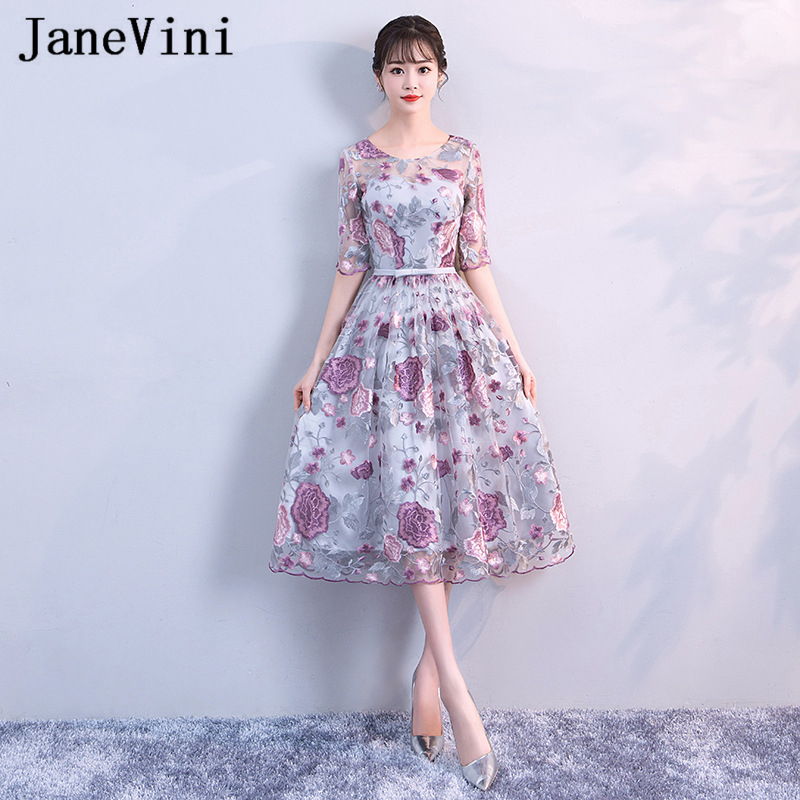 JaneVini 2019 Elegant Long   Prom     Dresses   with 3/4 Sleeves Scoop Neck A Line Wedding Party Embroidery Flowers Tulle Formal   Dress