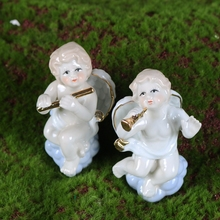 New Arrival Ceramic Handicraft Angel Figurines Home Decoration Medium Size Trumpet Flute Children Gift