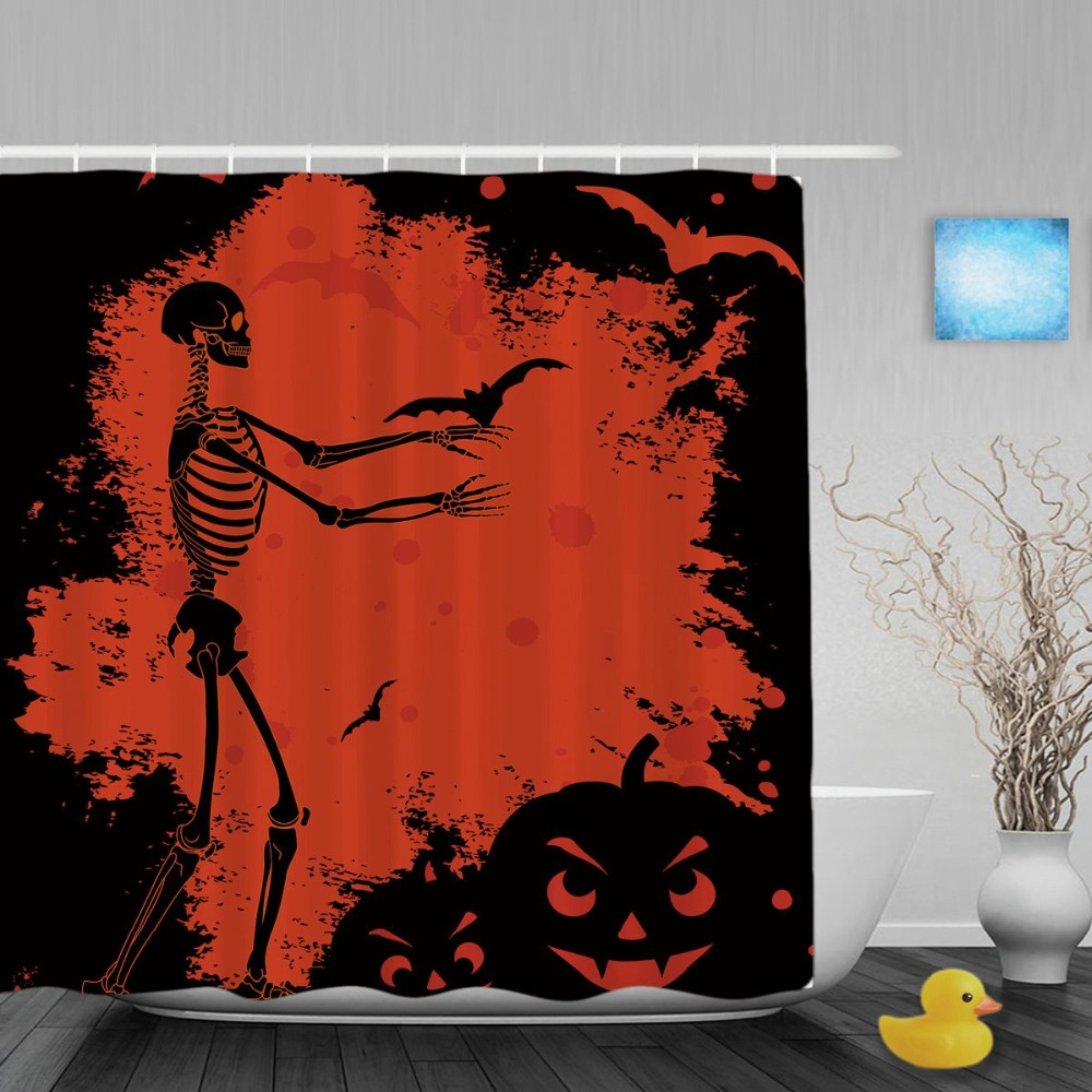 Halloween shower curtain - Halloween Skull On Blood Shower Cutains Pumpkin And Bat Decor Bathroom Shower Curtains Polyester Waterproof Fabric With Hooks