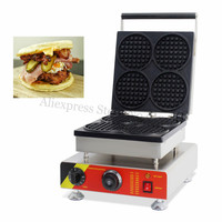 Commercial Nonstick 4pcs Round Waffle Machine Electric Round Waffle Maker 110V 220V With Timer And Temperature
