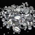Tamanhos mistos Crystal Clear Rodada Acrílico Soltos Não Hotfix Strass Flatback Pedras Para A Roupa de Casamento Decorações Da Arte Do Prego