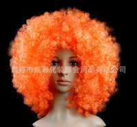 Halloween party afro hair jewelry colorful synthetic curly hair accessories for clown funny brazil football fans wigs