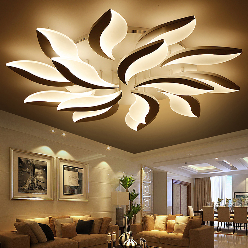 Led Ceiling Light Living Room Paint Ideas With Wood Trim New Flower Lights Bedroom Lustres Home Lamp Acrylic Lamparas De Techo Lighting In From