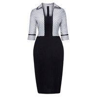 Sisjuly Women S Vintage Bodycon Full Sleeve Dot Print Turn Down Sheath Office Dress Work Party