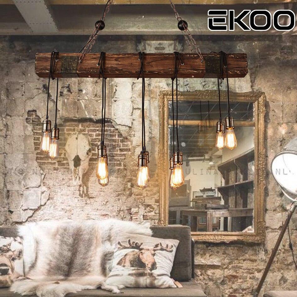 EKOO 10 Lights Antique Farmhouse Wood Beam Island Hanging Ambient Light Chandelier