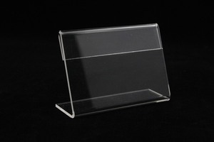 Image 1 - Acrylic T1.3mm Small sign clip L label tag frame Table Sign Price Tag Label Display Paper name Card Holders Stands dekstop 50pcs