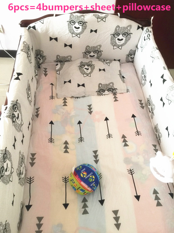 Promotion! 6PCS crib bumper Baby crib bedding set 100% cotton baby bedclothes (bumpers+sheet+pillow cover)
